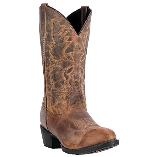 Mens 12' Dan Post - Laredo Men's 12'' Birchwood Western Embroidered Round Toe Cowboy Boots, Tan Leather, 16 EW