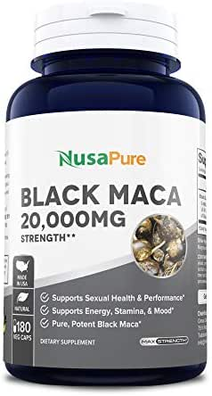 Black Maca Root 20000mg 180 Veggie Capsules (Vegetarian, Non-GMO, Gluten Free) Max Strength, Maca Root Extract Supplement from Peru - Support Reproductive Health