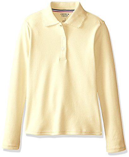 Blue French Toast Big Girls L//S Fitted Knit Polo with Picot Collar 10//12