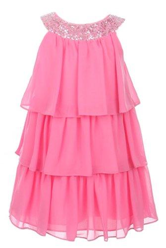 Sweet Kids Girls Triple Tiered Chiffon Dress 14 Bubblegum Pink (Sk (Sequined Bubble Dress)