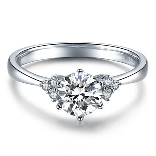 Round Cut Moissanite Engagement Ring 14k White Gold Palladium Platinum Handmade Diamond Ring Anniversary Ring Forever One ()