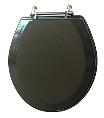 Trimmer Premium Metallic Black Wood Toilet Wood Seat. by American Trading House Inc.