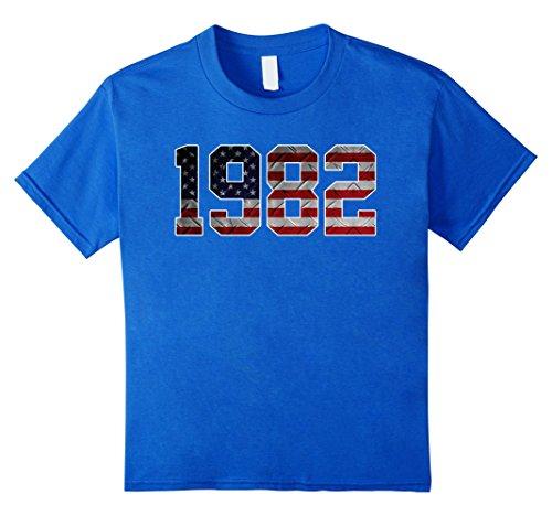 [unisex-child 1982 American Flag T-shirt 35th Birthday Gifts 10 Royal Blue] (1982 Flag)
