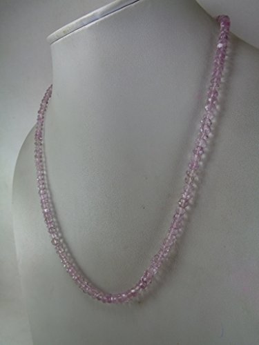 Faceted Amethyst Bead Necklace - Faceted Genuine Pink Amethyst Beads Necklace, 21 Inches Necklace, 925 Sterling Silver Lock Necklace by Gemsbazar