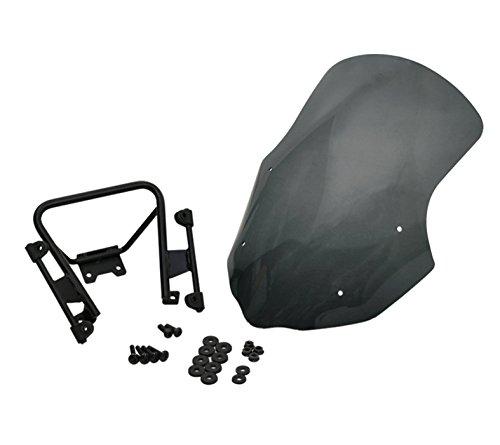 en Windshield + Cradle Holder Mount Set for Yamaha FZ-07 MT-07 + φ28 Mount Adapter (Black) (Dura Fork Replacement Head)