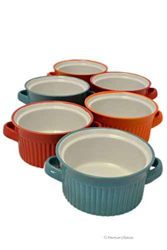 Orange French Bowl Set (Set 6 Assorted Color Ceramic 18oz Oven Dish French Onion Soup Bowls with)