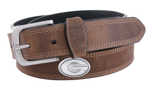 NCAA Georgia Bulldogs Light Crazyhorse Leather Concho Belt,Colors may vary, 40-Inch