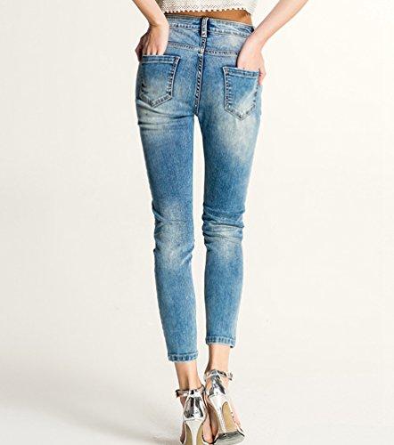 Casual Vita Elasticizzati Jeans Alta Denim Slim Zhiyuanan Skinny Alla Caviglia Fit Confortevole Matita A Chiaro Pantaloni Donna Blu qYC5YPwtx