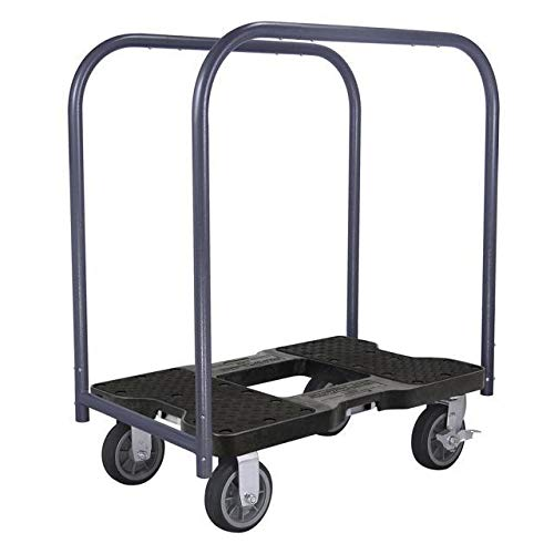 SNAP-LOC ALL-TERRAIN PANEL CART DOLLY BLACK with 1500 lb Capacity, Steel Frame, 6 inch Casters, Panel Bars and optional E-Strap Attachment
