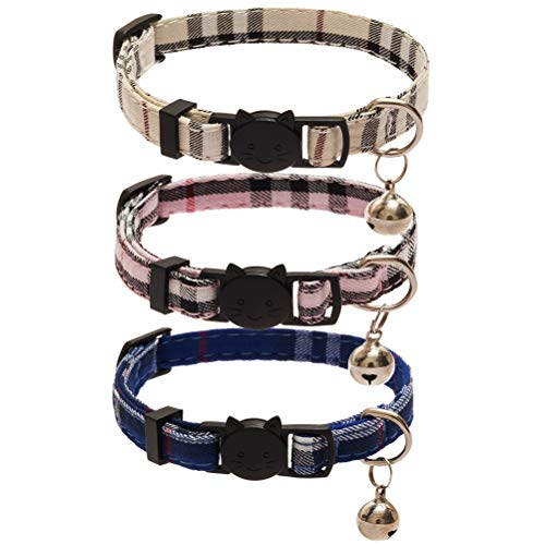 PUPTECK 3 pcs Plaid Cat Collar with Bell-Fit Cats - Classical Plaid Breakaway Adjustable Collar£¬ Blue & Pink & Cream