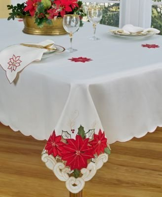 (Homewear Holiday Cutwork Poinsettia Trio 13 x 19 in. Place Mats - Set of 4 by Homewear)