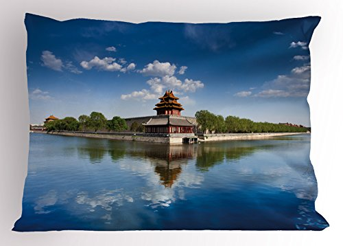 Imperial Palace Duvet - Lunarable Ancient China Pillow Sham, Historical Architecture Imperial Palace with Trees Sea and Blue Sky, Decorative Standard Queen Size Printed Pillowcase, 30 X 20 Inches, Blue Green Brown