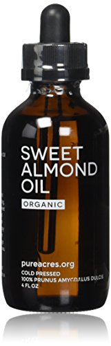 Sweet Almond Oil (Organic) - For Skin, Hair and Face - 4oz Glass Bottle + FREE Recipe eBook! - All Natural Sensual Massage Oil - Use with Essential Oils and Aromatherapy as a Carrier and Base oil (Moisturizing Eyeliner)