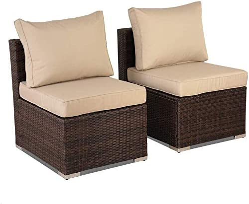 Outime Patio Furniture PE Brown Rattan Sofa Set 2pcs Middle Sofa Garden Wicker Sectional Sofas Conversation Sets-Easy Assembled Khaki Cushion