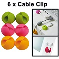 Home Buy, Multipurpose Cable Holder Clips Organiser with Double Tape - Set of 6 Clips