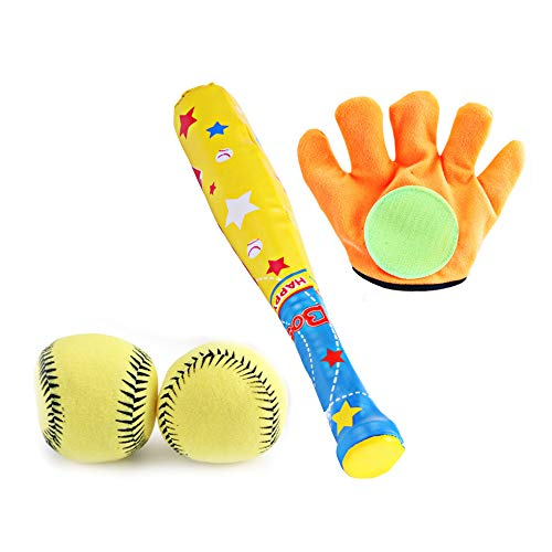 SELLBINDING Baby Baseball Toys Set Plastic Soft Baseball Sport Toys Children Bat Gloves Ball Set for Kids School Children Game Playing Gifts