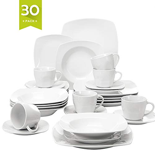 Malacasa, Series Julia, 30-Piece Ivory White Porcelain Dinnerware Set of Cups, Saucers, Dessert Plates, Soup Plates and Dinner Plates for 6