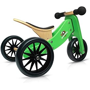 Kinderfeets TinyTot Wooden Balance Bike and Tricycle, Convertible No Pedal Balance Trike for Kids and Push Bike, Green - 2 in 1