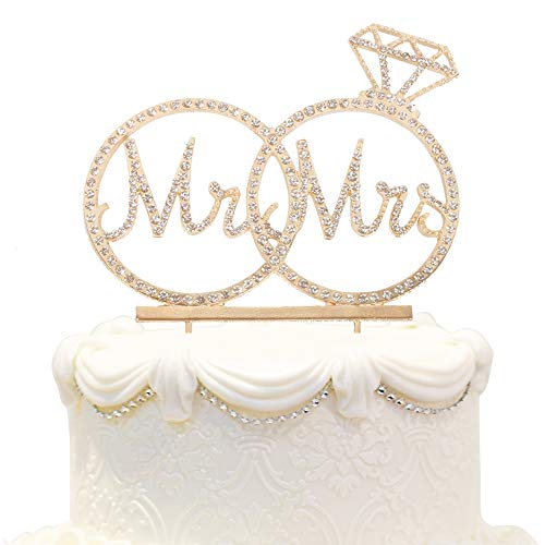 - Hatcher lee Mr & Mrs Cake Topper For Wedding Anniversary Rings Crystal Rhinestone Party Decoration (Gold)