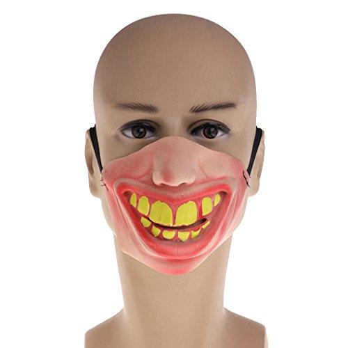 Jigsaw Killer Costumes (EA-STONE Novelty Latex Rubber Creepy Halloween Costume Party Grimace Half Face Mask -Buck teeth)