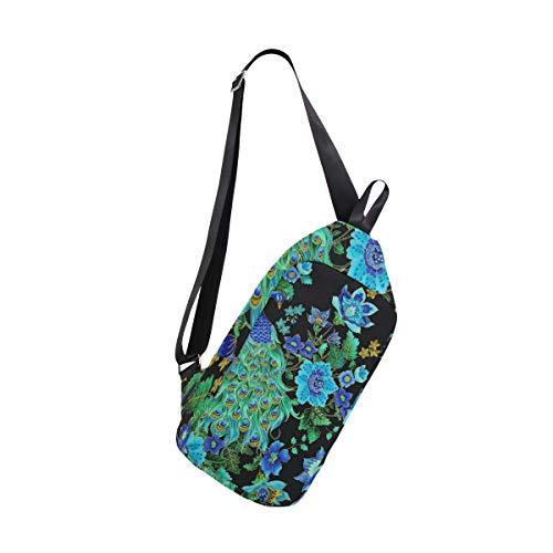 Sling Bag Enchanted Plume Beautiful Peacock Black Womens Chest Shoulder Backpacks Crossbody Triangle Rucksack Bag -