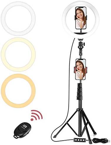 """Vabogu Selfie Ring Light, 10"""" Selfie Lights 120 LED Bulbs with Tripod Stand 18"""" to 63"""" & Cell Phone Holder for Live Stream/Makeup/YouTube Video/Photography, Compatible for iPhone Android(Upgraded)"""