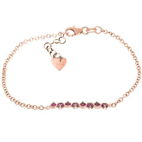 QP joailliers Rubis Naturel Bracelet en or rose 9carats, 1,55carat rond coupe-5080r