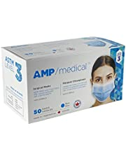 Surgical Mask ASTM Level 3, Made in Canada, Box of 50, 3ply Medical Face Masks, Pleated Polypropylene and Meltblown Layers, Ear Loops, Masque De Protection, Disposable, SM3-BLUE