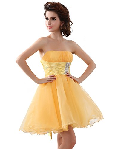 (Sarahbridal Juniors Strapless Homecoming Dresses Short Tulle Cocktail Party Gowns Sweet 16 Yellow US6)