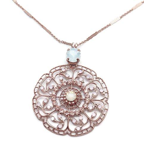 Mariana Swarovski Crystal Rose Goldtone Pendant Necklace White & Rose Water Opalescent Flower 2333 Tiara Day (Mariana Crystal)