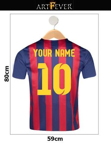320356508f5 FC BARCELONA SHIRT YOUR NAME & NUMBER CUSTOM PRINTED FOOTBALL SHIRT ON HANGER  WALL STICKER: Amazon.co.uk: Kitchen & Home