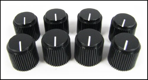 8-pack Potentiometer Knobs: Black Ribbed with White Line (Knobs Amplifier)