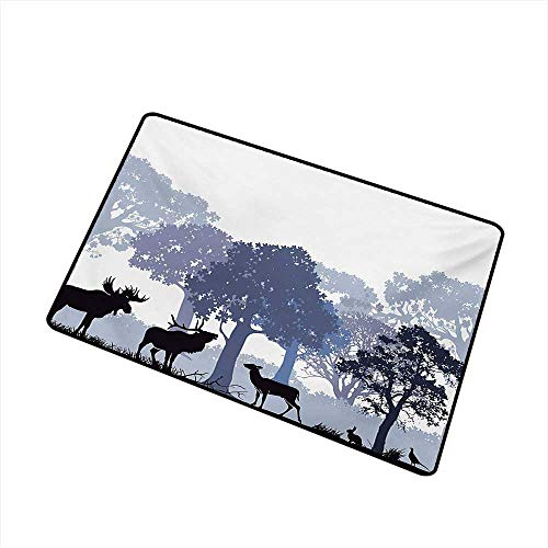 BeckyWCarr Moose Front Door mat Carpet Forest Design Abstract Woods North American Wild Animals Deer Hare Elk Trees Machine Washable Door mat W19.7 x L31.5 Inch,Black White Grey