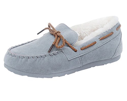 Maybest Women Men Unisex Faux Fur Slipper Flats Indoor Outdoor Sole Ultra Soft Lining Moccasins Short Snow Boots ( Gray for Women 9 B (M) US )