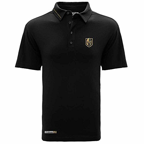 Golden Mark - NHL Vegas Golden Knights Men's Reign Wordmark Polo, Medium, Black
