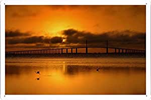 """Wall Art Printing on Metal Tin Decoration Poster Sign of Bridge 4746 8""""x12"""" Inches by Photo Digger"""