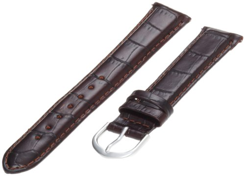 Timex Men's Q7B825 Leather Padded Crocodile Grain 18mm Brown Replacement Watchband
