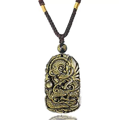 DUOVEKT Natural Gold Obsidian Pendant for Women Men Dragon Shape Gemstone Crystal Bead Necklace Pendant 58x38x11mm AAAA
