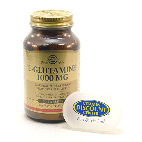 Bundle - 2 Items: 1 Bottle of L-Glutamine 1000mg By Solgar - 60 Tablets and 1 VDC Pill Box