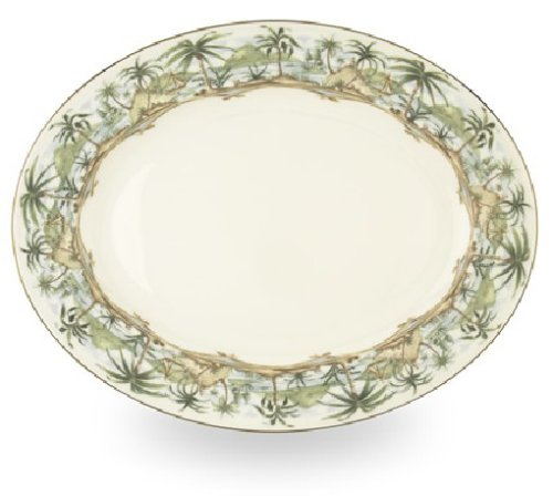 - Lenox British Colonial Gold Banded Bone China 16-Inch Oval Platter