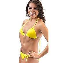 Lena Style Bright Yellow Triangle Micro Extreme Bikini Swimsuit Hot Sexy Swimwear