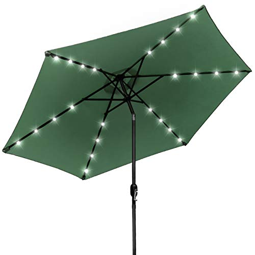 Sorbus LED Outdoor Umbrella, 10 ft Patio Umbrella LED Solar Power, with Tilt Adjustment and Crank Lift System, Perfect for Backyard, Patio, Deck, Poolside, and More (Solar LED - Green) (Best Place To Sell Your Pool Table)