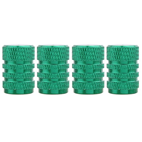 - TOMALL Aluminum Alloy Round Style Tire Valve Stem Caps Green for Wheel Dust Cover