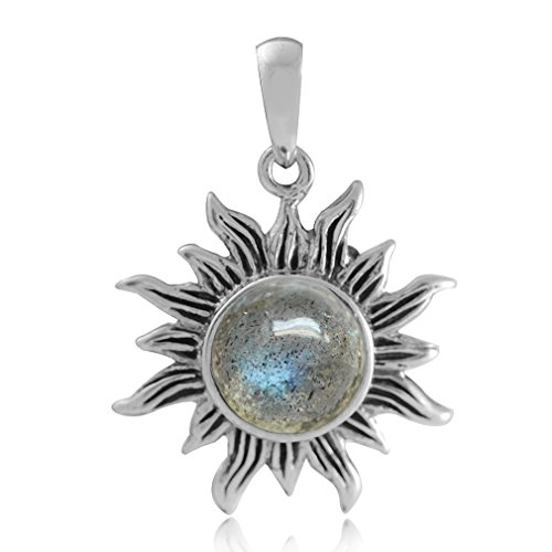 8MM Natural Labradorite 925 Sterling Silver Sun Ray Inspired Solitaire - Inspired Silver Pendant