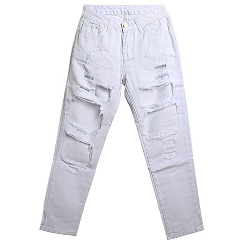 Baymate Vaqueros de Cintura Alta High Waist Denim Ripped Large Hole Jeans Pants