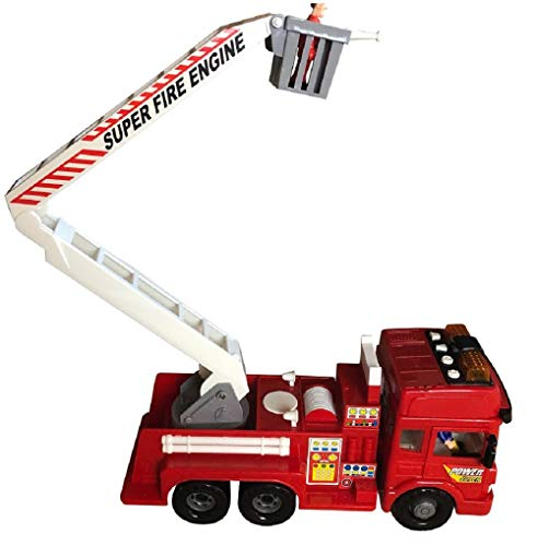 - FUNERICA Toy Fire Truck with Lights and Sounds - 4 Sirens - Big Folding Ladder - Powerful Friction Rolling Wheels - Play Fire Engine Firetruck for Boys and Girls - Includes 5 Toy Figures Bonus