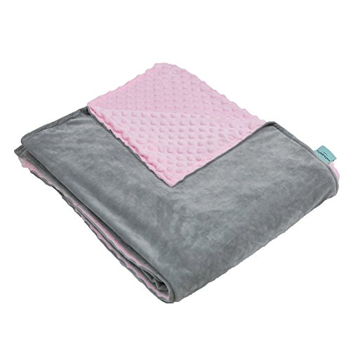 60' Plush Blanket (Weighted Idea Removable Duvet Cover for Weighted Blanket - Grey/Pink - Super Soft Minky Duvet Cover (60''x80''))