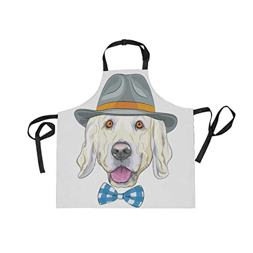 BlueViper Hipster Dog Golden Retriever Home Kitchen Apron for Women Men with Pockets, Unisex Adjustable Bib Apron Perfect for BBQ, Grill, Baking, Cooking