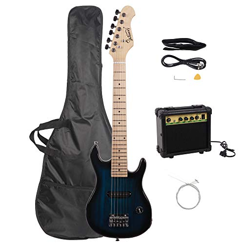 Glarry 30″ Mini Maple Fingerboard Electric Guitar for Kids with 10W Amp and Accessories Pack Guitar Bag (Dark Blue)