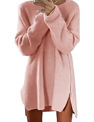 Shinekoo Women Autumn Casual Zipper Sweater Dress Loose Pullover